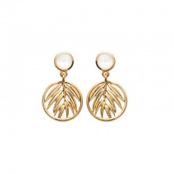 Gold-plated, palm and mother-of-pearl pendant earrings - JUNGLE - Palm leaf pattern