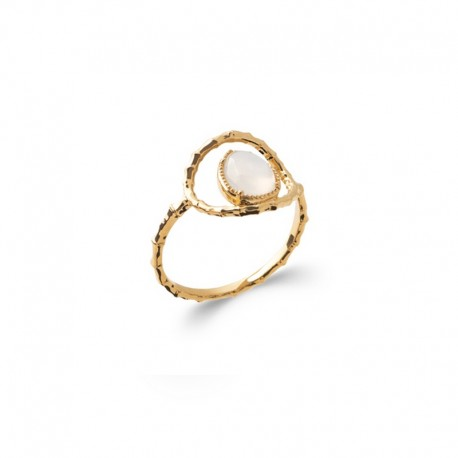 Gold plated bamboo ring, stoned with moonstone - BAZAR CHIC - lithotherapy