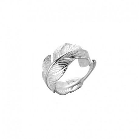 Large feather ring in 925 silver, adjustable size