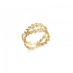 Laurel leaf ring interlaced gold plated - LAURIER - Fine ring, trendy ring