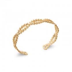 Bracelet jonc couronne de laurier, feuille entrelacée plaqué or - LAURIER -