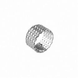 Bague large cinq anneaux en argent 925 - Bazar Chic - bague multi anneaux, accumulation