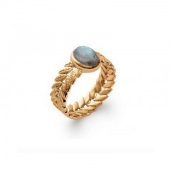 Gold Plated Laurel Leaf ring with Labradorite Stone LAURIER 1032270615
