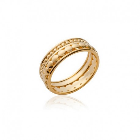 Double row gold plated ring - L'ELEGANTE