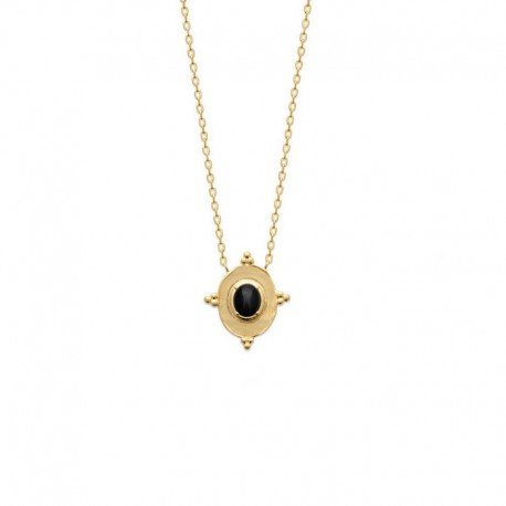Gold plated necklace, ONYX pendant - SOFIA - Fine chain necklace and natural stone