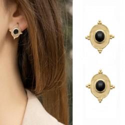 Boucles d'oreilles plaqué or, pendentif ONYX - SOFIA - Boucles d'oreilles pendantes ovales et pierres naturelles