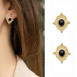 Gold plated earrings, ONYX pendant - SOFIA - Oval pendant earrings with natural stones