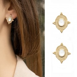 Gold plated moonstone earrings - SOFIA - Oval pendant earrings and natural stones