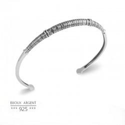 Jonc en Argent 925 - Bracelet gravure ethnique touareg - Bijou homme