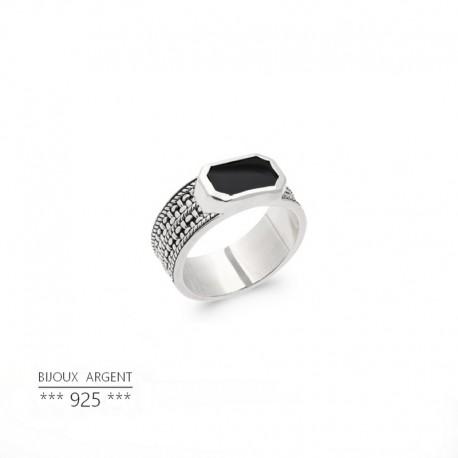 Bague homme avec pierre noire - Onyx rectangulaire - Bijou argent 925