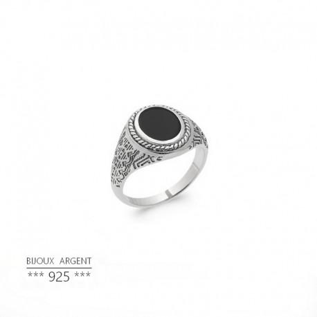 Bague homme avec pierre noire - Onyx ovale - Bijou argent 925