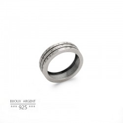 Men's ring with 3 hammered rings in 925 matt silver