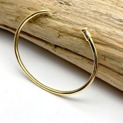 Bracelet clou luxe, jonc doré a l'or fin 18 carats - Bijou homme