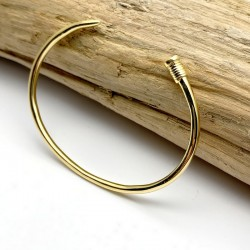 Nail bracelet, luxury bangle gilded with fine 18K gold - Men's jewelry