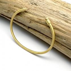 Bracelet clou luxe, jonc or mat 18 carats - Bijou homme