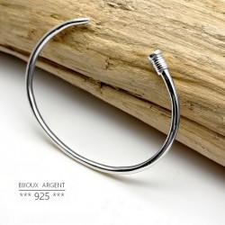 Bracelet clou luxe, jonc argent 925 - Bijou homme