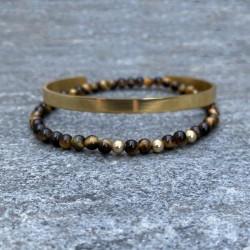 Pack de bracelets Homme, 1 Jonc acier or + 1 bracelet œil de tigre