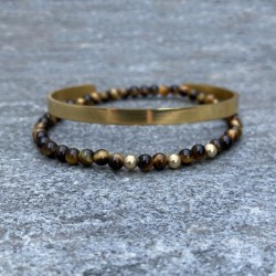 Pack of men's bracelets, 1 gold steel bangle + 1 tiger eye bracelet