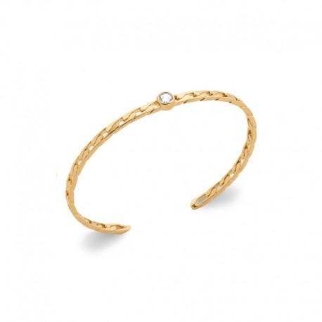 Bracelet jonc rigide en maillon plaqué or avec zircon - Jonc fin maille gourmette -