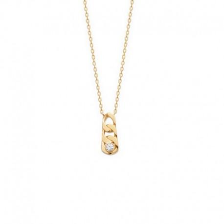 Collier chaine fine maille forçat plaqué or avec pendentif maillon incrusté d'un zircon