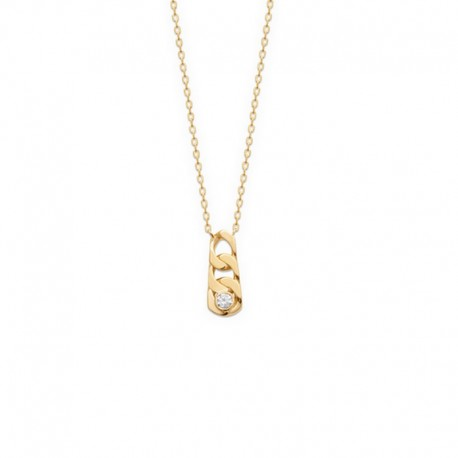 Fine chain necklace, gold-plated convict link with mesh pendant inlaid with a zircon