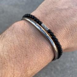 Pack de bracelets Homme, 1 Jonc acier + 1 bracelet onyx noire et sa perle en argent 925