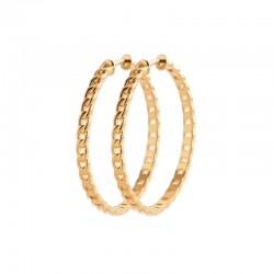 Gold plated earrings, medium hoops 1.6 inch - Curb link - Rigid mesh chains