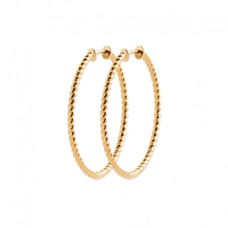 Gold plated twisted hoops earrings in 1.6 inch - Medium hoops size