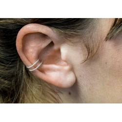Bague d'oreille double en argent 925 torsadé - Faux piercing, ear cuff, clips d'oreille