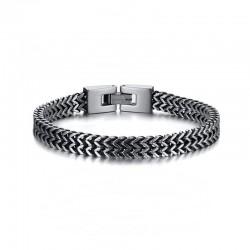 Bracelet chaine épaisse homme en acier inoxydable bicolore argent et noir