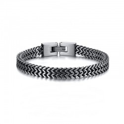 Men's thick chain bracelet in two-tone silver and black stainless steel - Vintage Steel Bracelet