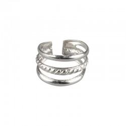 Ear cuff, 925 twisted silver triple ring - Fake piercing, , ear clips, non pierced, earwraps