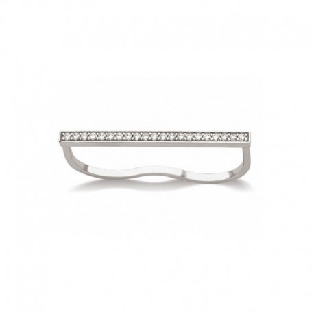 Double finger band ring, bar with zirconium oxides line - BAZAR CHIC - Made in 925 rhodium silver