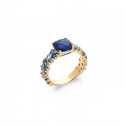 Bague pierre bleue sertie, anneau empierré oxyde de zirconium en camaïeu bleu - BAZAR CHIC - Bague plaqué or 18K
