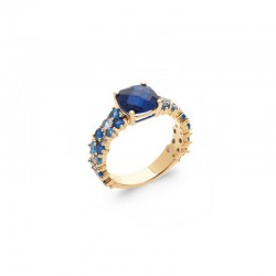 Blue stone set ring, zirconium oxide gemstone ring in blue shades - BAZAR CHIC - 18K gold plated ring