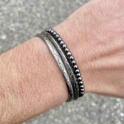 Bracelet DOUBLE Perle Onyx et Oeil de tigre / fermeture style shamballa (mixte homme femme)