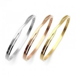 Bracelet jonc fin entrelacé en acier inoxydable 4mm - Argent, Or, Or rose