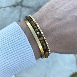 Pack of bracelets Man 1 stell bangle + 1 matt tiger eyes bracelet and its silver 925 bead