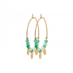 Gold plated hoops earrings in 1.2 inch - Green chalcedony with tassels - Medium hoops size