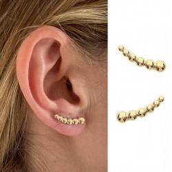 Boucles d'oreilles plaqué or et sertis de zircons - Contour de lobe - DÉESSE