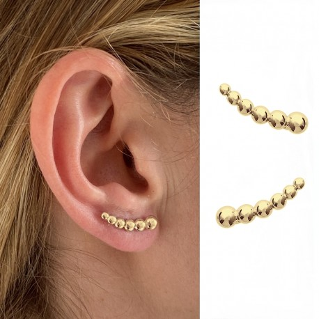 Gold plated earrings set with zircons - Earlobe contour - DÉESSE