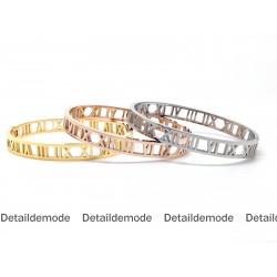 """Bracelet Jonc """"Chiffre romain"""" 7mm acier inoxydable"""