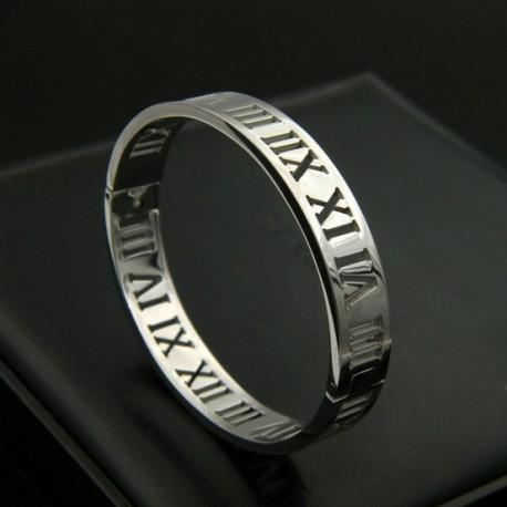"Bracelet Jonc ""Chiffre romain"" Large 10mm acier inoxydable"