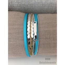 Bracelet H.Dubin satin BLEU, pièce, chaîne & cordon