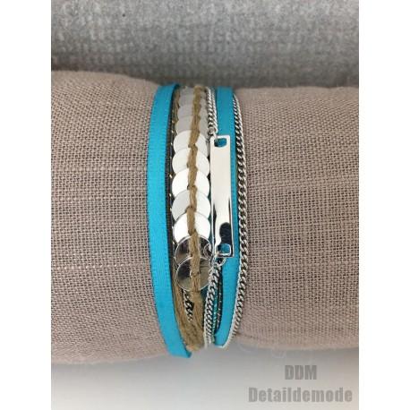 Bracelet H.Dubin BLUE satin, piece, chain & cord