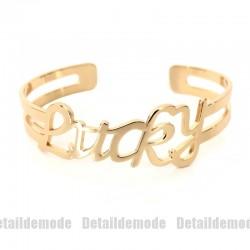 Bracelet jonc message texte LUCKY doré H.Dubin