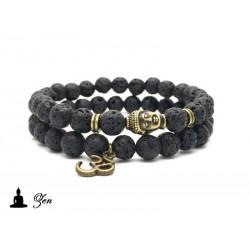 Pack Bracelet ZEN Tête de Bouddha bronze / Pierre de lave (méditation feng-shui)