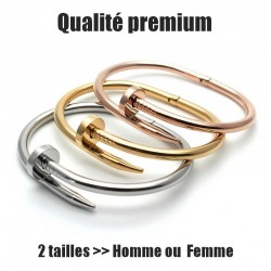 "Bracelet ""Nail premium version"" silver, gold, Pink gold (2 sizes man or woman)"
