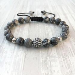 Bracelet micro pave Zircon bead and gray jasper (Man Shamballa silver)