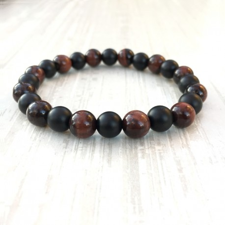 Indian Agate Bracelet + faceted 925 silver beads (man / woman)